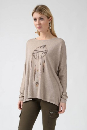 Pull Dafné taupe - By CDP