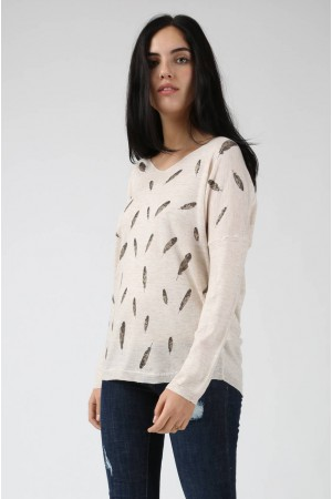 Pull Plume beige - By CDP