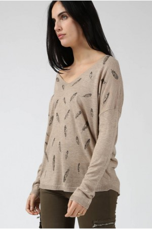 Pull Plume taupe - By CDP