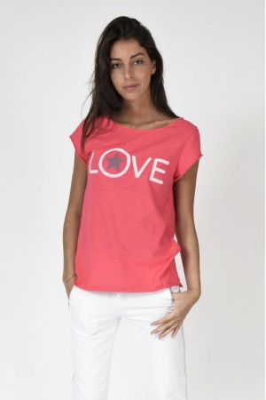 Tee-shirt Love fushia