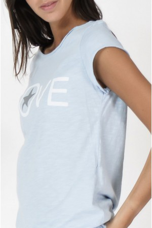 Tee-shirt Love bleu ciel