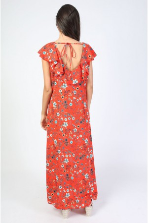 Robe longue Vaia corail - Holly & Joey