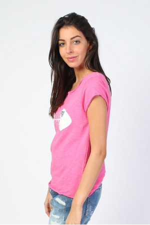 Tee-shirt Messa rose imprimé poisson